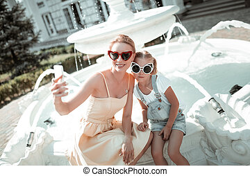 女, 彼女, 取得, daughter., selfie, 幸せ