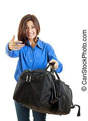 女, 彼女, 呼出し, 旅行, スーツケース, あなた, 来なさい