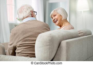 女, 彼女, 微笑, 年を取った, 夫, すてきである