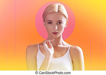 女, 彼女, 感動させる顎, 指, すてきである, 魅力的