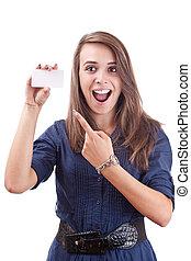 女, 彼女, 指すこと, 若い, 手, ブランク, カード