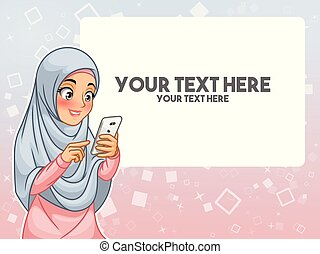 女, 彼女, 指すこと, muslim, 手, 電話, 感動的である, 指, 痛みなさい