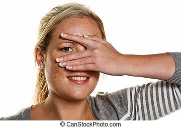 女, 彼女, 指, 手, によって, 顔つき