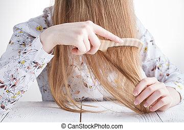 女, 彼女, 毛, 手, 問題, 櫛