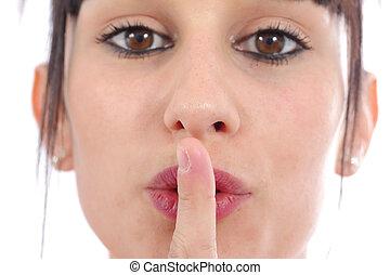 女, 彼女, 若い, の上, 唇, 指, 終わり