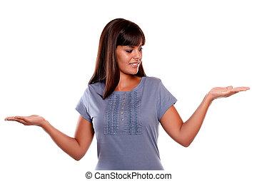 女, 彼女, 若い, の上, 手, 見る, ラテン語, 左