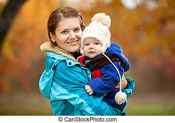 女, 彼女, 若い, 息子, 赤ん坊, 肖像画
