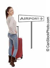 女, 彼女, 行く, 若い, スーツケース, 空港