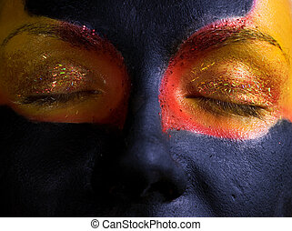 女, 彼女, face., 隔離された, 黒, 芸術的, 背景, メーキャップ, 神秘的, 肖像画