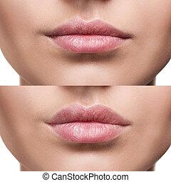 女, 後で, 若い, 唇, 増加, 前に