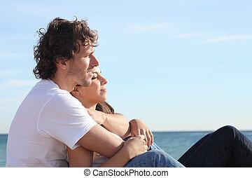 女, 恋人, 恋をもて遊ぶ, 抱き合う, 浜, 人