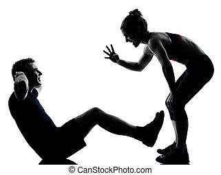 女, 恋人, 運動, 1(人・つ), フィットネス, 試し, 人