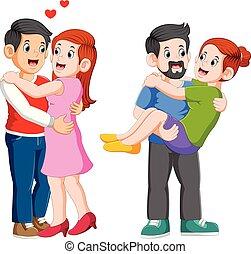 女, 恋人, love., 他, 愛情深く, それぞれ, 人, 包含