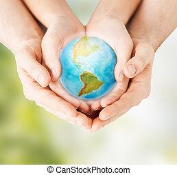 女, 惑星, 保有物, 手, 地球, 人