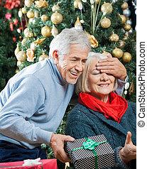 女, 意外, 贈り物, クリスマス, 店, 人
