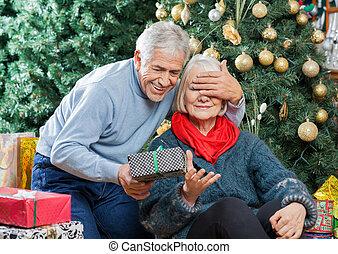 女, 意外, 贈り物, シニア, クリスマス, 店, 人
