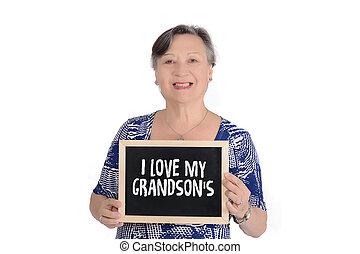 """女, 愛, テキスト, """"i, 年配, 黒板, 保有物, 私, grandson's"""""""