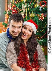女, 愛, 共有, クリスマス, 幸福, 人