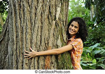 女, 愛, 木の抱き締めること, 森林, nature: