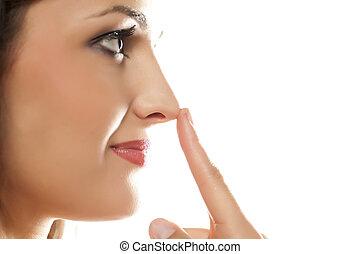 女, 感動的である, 彼女, 鼻