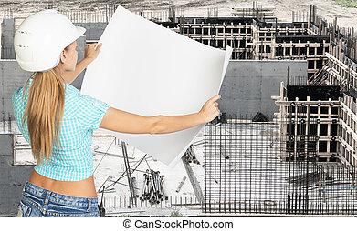 女, 懸命に, 若い, ペーパー, 保有物, 白い帽子