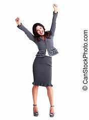 女, 成功, ビジネス, 幸せ