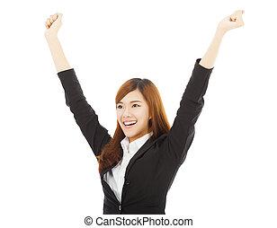 女, 成功, ビジネス, 若い, アジア人, ジェスチャー, 幸せ