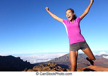女, 成功, ランナー, 勝者, 跳躍, フィットネス