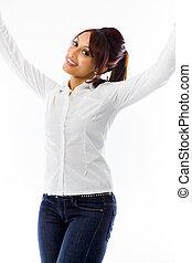 女, 成功, 若い, 隔離された, 祝う, indian, 背景, 白