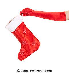 女, 手の 保有物, クリスマスストッキング, 隔離された, 上に, 白