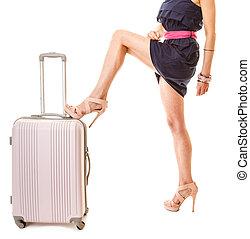 女, 手荷物, vacation., 旅行, スーツケース, bag.