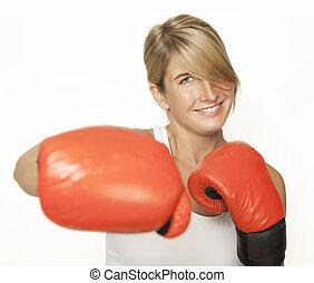 女, 手袋, ボクシング
