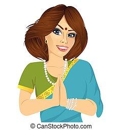 女, 手, 伝統的である, indian, 保有物, 祈とうポジション