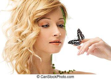 女, 手, 夢を見ること, 若い, 蝶, 概念, 衣装, 彼女, 春