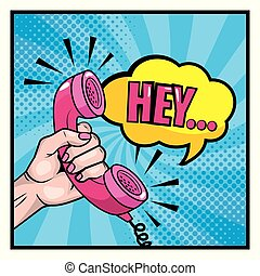 女, 手, 電話, チャット, メッセージ, 泡