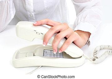 女, 手, 電話