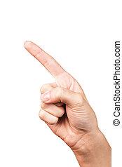 女, 手, poiting, シンボル