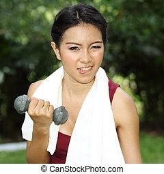女, 手, weights.