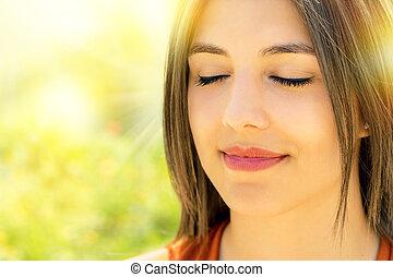 女, 打撃, リラックスした, 瞑想する, 顔, 屋外で