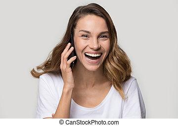 女, 打撃, 話し, 移動式 電話, スタジオ, 笑い, headshot, 肖像画