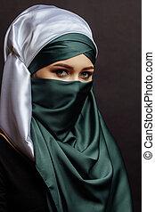 女, 打撃, muslim, の上, 魅力的, 終わり, 流行, サイド光景
