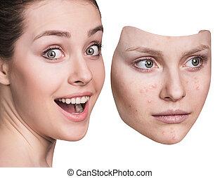 女, 投げ, 離れて, マスク, 若い, ひどく, skin.
