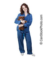 女, 抱き合う, 熊, テディ