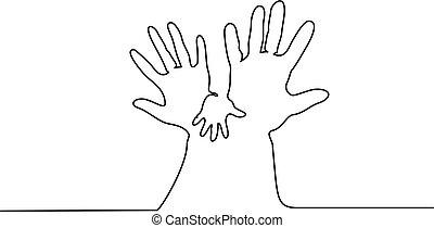 女, 抽象的, 手の 保有物, 手, 赤ん坊, 人