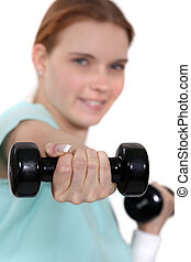 女, 持ち上がること, weights.