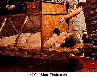 女, 持つこと, sauna., ayurveda