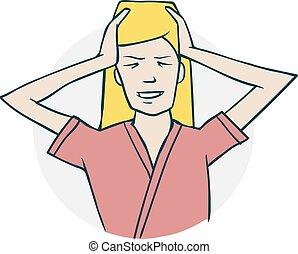 女, 持つ, 頭痛