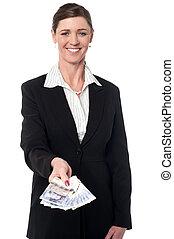 女, 提示, イギリスポンド, 微笑, 企業である