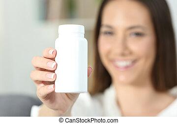 女, 提示, 手, びん, ブランク, 薬, 丸薬