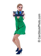 女, 提示, 財布, 緑のドレス, すてきである